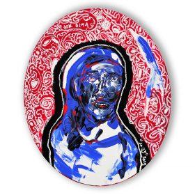 Peinture - Soly Cissé - Personnage à la peau bleu - Fond orné blanc et rouge