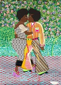 Collage - Franklin Mbungu - Homme et femme dansant - fond fleuri - carrelage carreaux rouges et bleus