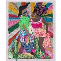 Collage - Franklin Mbungu - Homme et femme - fond multicolore - herbe - tenues colorés