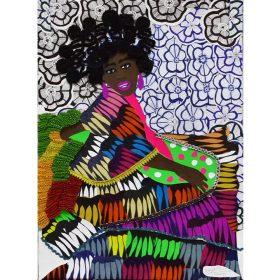 Collage - Franklin Mbungu - Femme noire - fond fleuri - boucles d'oreilles - robe multicolore