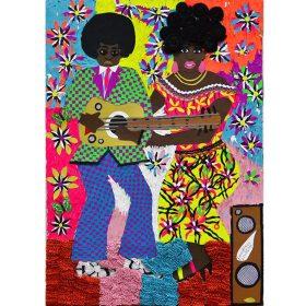 Collage - Franklin Mbungu - Femme et homme noirs - Fond fleuri et multicolore - tenues disco/traditionnelles - guitare et enceinte
