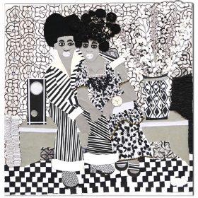 Collage - Franklin Mbungu - Femme et homme collés - Noir et blanc - Fond fleuri - vase et radio - carrelage à carreaux