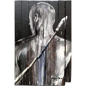 Peinture - Kouka Ntadi - Portrait - Guerrier Bantu - de dos - Porte noire - Nuances de marron, blanc et bleu
