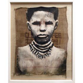 Peinture - Kouka Ntadi - Street artiste - Peint sur toile de jute - Portrait guerrier Bantu