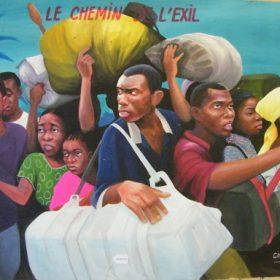 Peinture - Chéri Chérin - Hommes et femmes qui s'enfuient - gros sacs - téléphones - ciel bleu