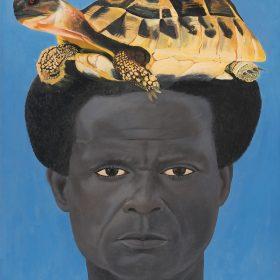 Peinture - Almighty God - Homme noir avec une tortue sur la tête - fond bleu