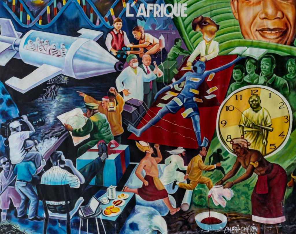 Peinture - Chéri Chérin - Hommes de différentes ethnies - caméras - horloge - mange - téléphone