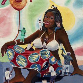 Peinture - Chéri Chérin - Femme - Petits hommes ma crée : peint, donne un coeur... - fond formes de couleurs