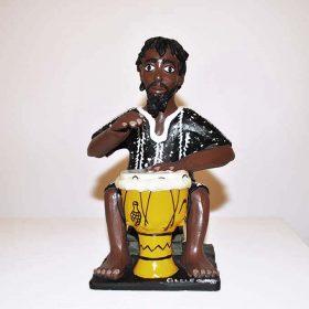 Sculpture - Eulogé Glélé - Homme africain - joue du tamtam
