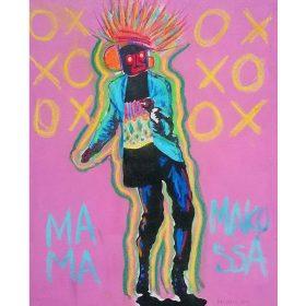 Peinture - Fred EBAMI - Homme avec masque - fond XOXO rose et jaune - contours verts et jaune