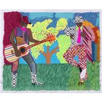 Collage - Franklin Mbungu - Hommes - joue de la guitare - danse - herbe - arbre