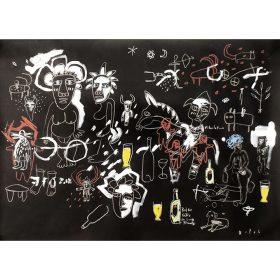 Peinture - Gopal Dagnogo - Peint quasi sous hypnose - divinités - hommes - animaux