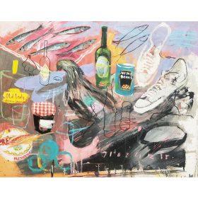 Peinture - Gopal Dagnogo - Poule - baskettes - boites de conserve - confiture - camembert - bière - tabasco - coca cola - sardines