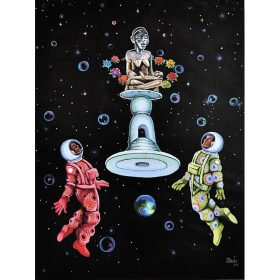 Peinture - Shula MOSENGO - espace - bulles - astronautes - colorés - robo argenté/doré - couronne de fleurs