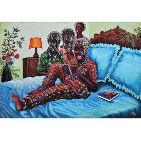 Peinture - Shula Mosengo - Femme avec écouteurs - Visages figés - Lit - Lambe - Fond vert - Une femme sort du lot - livre - pot de fleurs