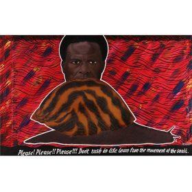 Peinture - Almighty God - Homme derrière un escargot - Ecritures blanches sur noir - fond à motifs noirs sur rouge