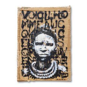 Peinture - Kouka Ntadi - Portrait - Guerrier Bantu - Carton - Fond marron avec