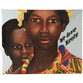 Peinture - Almighty God - Femme et enfant africains - Fond bleu clair