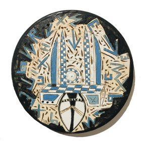 Sculpture - Marc Piano - Assiette - formes blanches et bleues