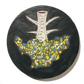Sculpture - Marc Piano - Assiette - formes de jaunes, marrons, blanches et bleues