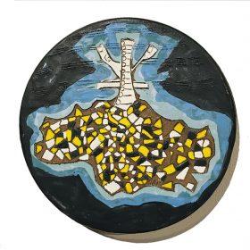 Sculpture - Marc Piano - Assiette - formes bleues, marrons, jaunes, blanches