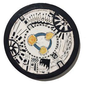 Sculpture - Marc Piano - Assiette - motifs africains - noir blanc jaune et bleu