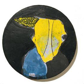 Sculpture - Marc Piano - Assiette - forme jaune et bleue