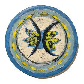 Sculpture - Marc Piano - Assiette - bleue, jaune, blanche