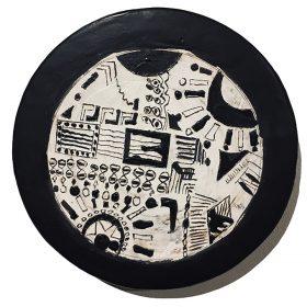 Sculpture - Marc Piano - Assiette - motifs africains - noir et blanc