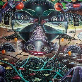 Peinture - Bodo Fils - Surréaliste - Poisson souriant - Deux poissons face à face formant des yeux - Hommes poisson cueillant des pommes - poissons - océan