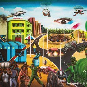 Peinture - Bodo Fils - Surréaliste - Hélicoptères - jet - caserne de police - militaires - éléphant mort - population affolée - personnes brûlées ou exécutées - oeil avec drapeau français - bulle avec Tour Eiffel - Drapeau République Démocratique du Congo