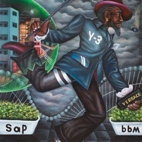 Peinture - Bodo Fils - Homme bien habillé - Drapeau de la République Démocratique du Congo - SAPE - Immeubles dans une bulle - nuages gris