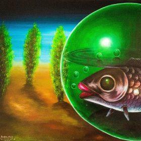 Peinture - Bodo Fils - Poisson dans une bulle verte - fond dégradé bleu/noir - arbres