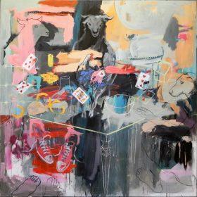 Peinture - Gopal Dagnogo - Chien et taureaux autour d'une table - poule dessus - chaussures - pieds nus - cartes -saladier
