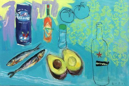 Peinture - Gopal Dagnogo - Sel - Avocat - Bière - Sardines - Tomates - Tabasco - épices - fond vert et fleuri