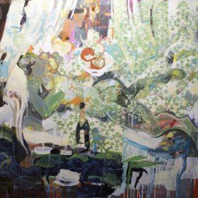 Peinture - Gopal Dagnogo - Fond vert fleuri - bouteille de champagne - table - femme allongée sur un divan