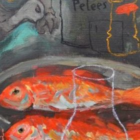 Peinture - Gopal Dagnogo - Poissons rouges - bouteille - vautour - fond gris