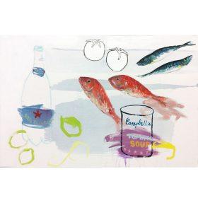 Peinture - Gopal Dagnogo - Fond blanc et ombres bleutées - San Pellegrino - Poissons rouges - Sardines - Soupe à la tomate - Tomates blanches - citrons verts