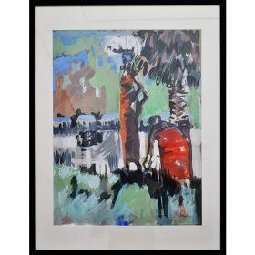 Peinture - Loïc Madec - Nature morte revisité - Femmes faisant la lessive - Hippopotame dans la rivière