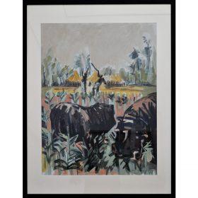 Peinture - Loïc Madec - Nature morte revisité - Hippopotames dans un champs - Au loin des paysans