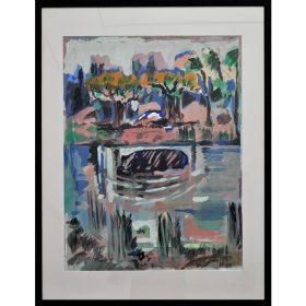 Peinture - Loïc Madec - Nature morte revisité - hippopotame dans un lac