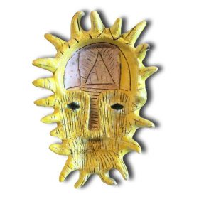 Sculpture - Marc Piano - Masque africain - forme de soleil - doré