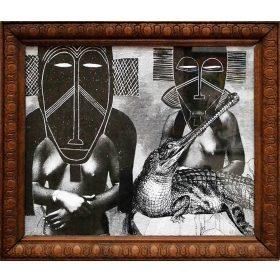 Collage - 13Bis - Photographie femmes seins nus en noir et blanc - collage de masques et d'un crocodile