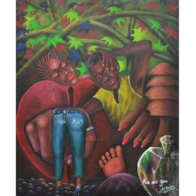 Peinture - Pierre Bodo - Femme et enfant - pied - jambes - pomme en cristal - branches et feuilles