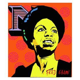 Dessin digital - Fred Ebami - Nina Simone jaune et noire - fond à motifs roses sur orange - N majuscule rose et violet