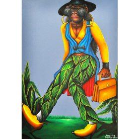Peinture - Bodo fils - Femme singe bien habillée - SAPE