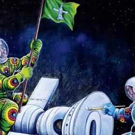 Peinture - Shula Mosengo - Astronotes - Colorés - Capsule spatiale à visage de masque - drapeau vert - espace