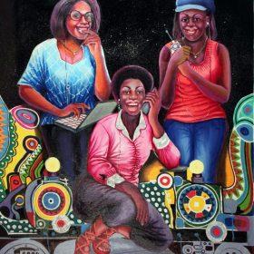 Peinture - Shula Mosengo - Femmes au téléphone ou sur ordinateur - Fond espace