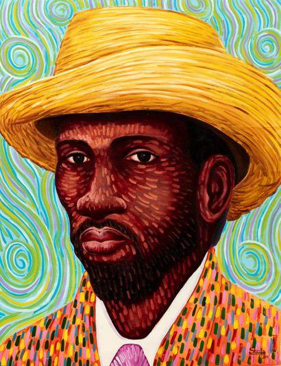 Peinture - Shula Mosengo - Autoportrait style Van Gogh