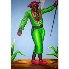 Peinture - Bodo fils - Homme singe bien habillé - SAPE